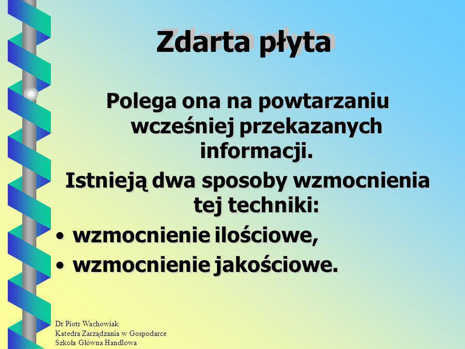 Dr Piotr Wachowiak Katedra Zarządzania w Gospodarce Szkoła Główna Handlowa Zdarta płyta Polega ona na powtarzaniu wcześniej przekazanych informacji.