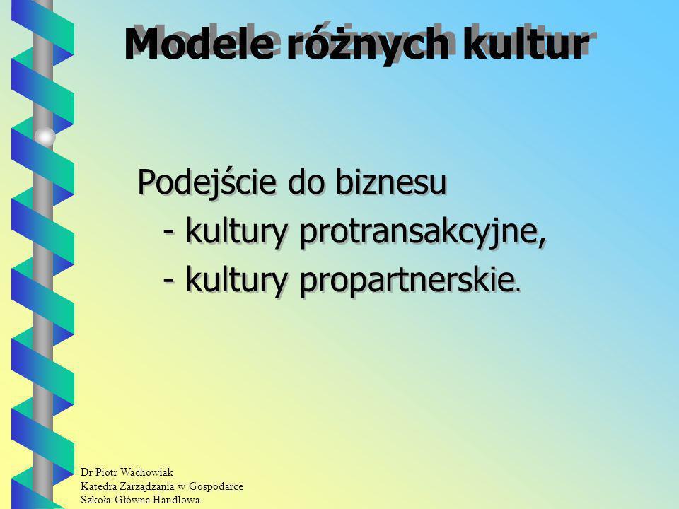 Dr Piotr Wachowiak Katedra Zarządzania w Gospodarce Szkoła Główna Handlowa Modele różnych kultur Podejście do biznesu - kultury protransakcyjne, - kultury propartnerskie.