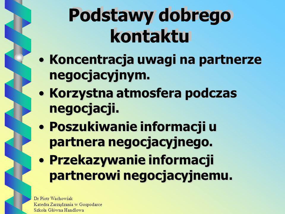 Dr Piotr Wachowiak Katedra Zarządzania w Gospodarce Szkoła Główna Handlowa Podstawy dobrego kontaktu Koncentracja uwagi na partnerze negocjacyjnym.