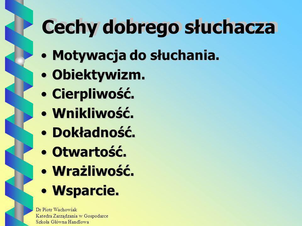 Dr Piotr Wachowiak Katedra Zarządzania w Gospodarce Szkoła Główna Handlowa Cechy dobrego słuchacza Motywacja do słuchania.