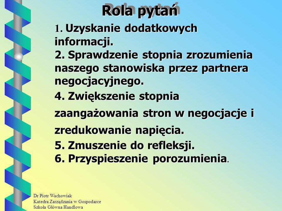 Dr Piotr Wachowiak Katedra Zarządzania w Gospodarce Szkoła Główna Handlowa Rola pytań 1.