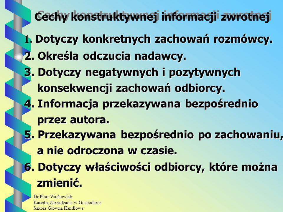 Dr Piotr Wachowiak Katedra Zarządzania w Gospodarce Szkoła Główna Handlowa Cechy konstruktywnej informacji zwrotnej 1.