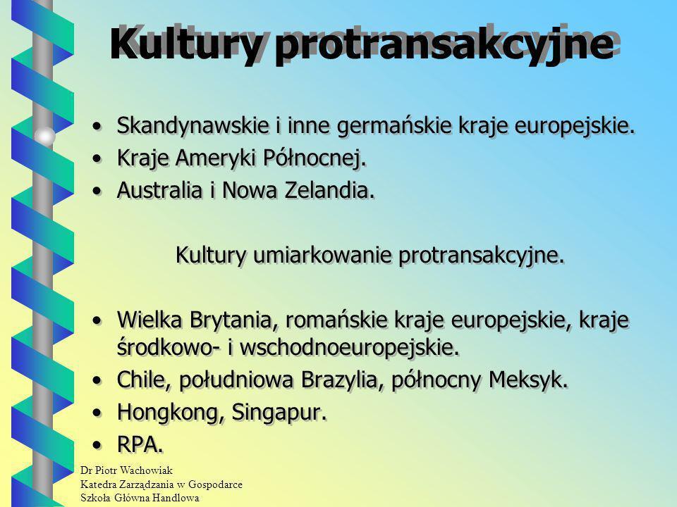 Dr Piotr Wachowiak Katedra Zarządzania w Gospodarce Szkoła Główna Handlowa Kultury protransakcyjne Skandynawskie i inne germańskie kraje europejskie.
