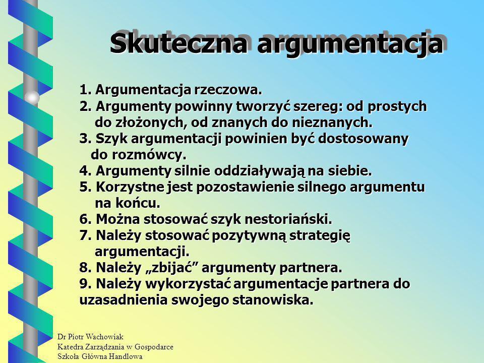 Dr Piotr Wachowiak Katedra Zarządzania w Gospodarce Szkoła Główna Handlowa Skuteczna argumentacja 1.
