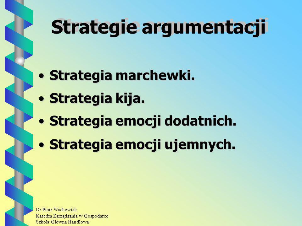 Dr Piotr Wachowiak Katedra Zarządzania w Gospodarce Szkoła Główna Handlowa Strategie argumentacji Strategia marchewki.