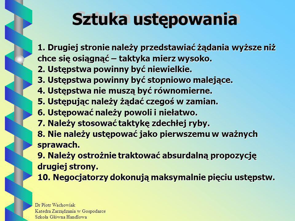 Dr Piotr Wachowiak Katedra Zarządzania w Gospodarce Szkoła Główna Handlowa Sztuka ustępowania 1.