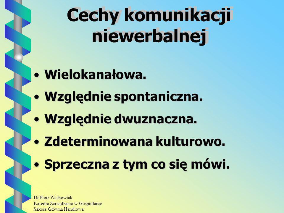 Dr Piotr Wachowiak Katedra Zarządzania w Gospodarce Szkoła Główna Handlowa Cechy komunikacji niewerbalnej Wielokanałowa.