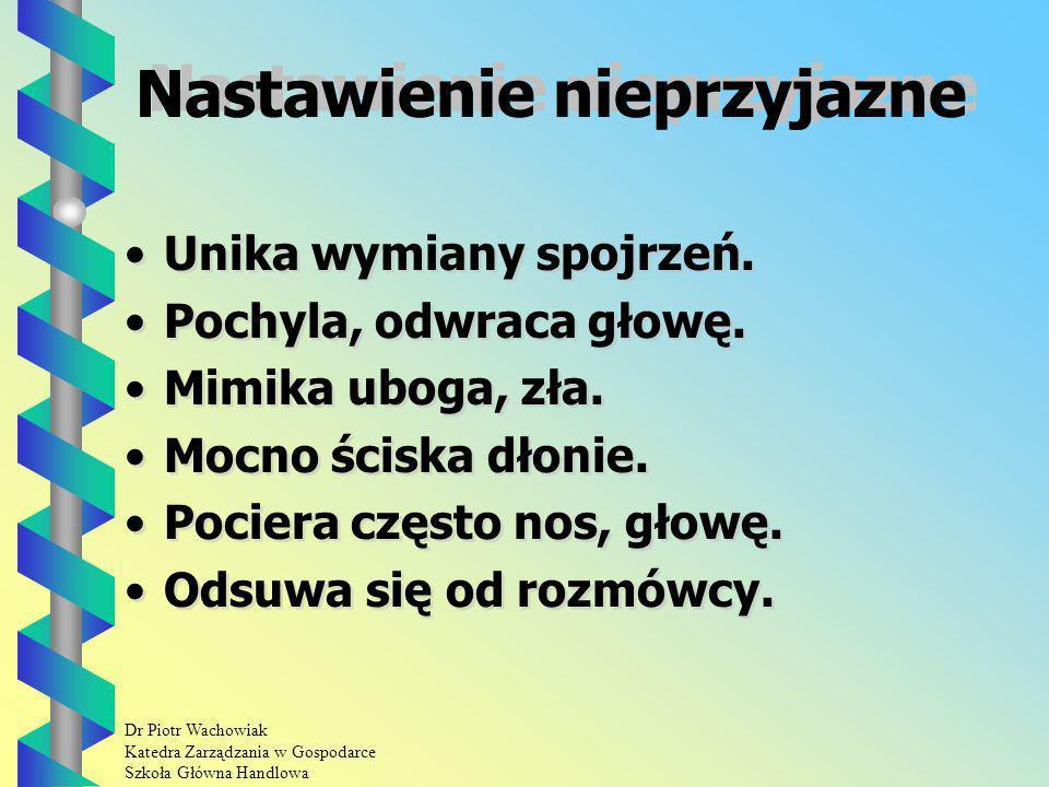 Dr Piotr Wachowiak Katedra Zarządzania w Gospodarce Szkoła Główna Handlowa Nastawienie nieprzyjazne Unika wymiany spojrzeń.