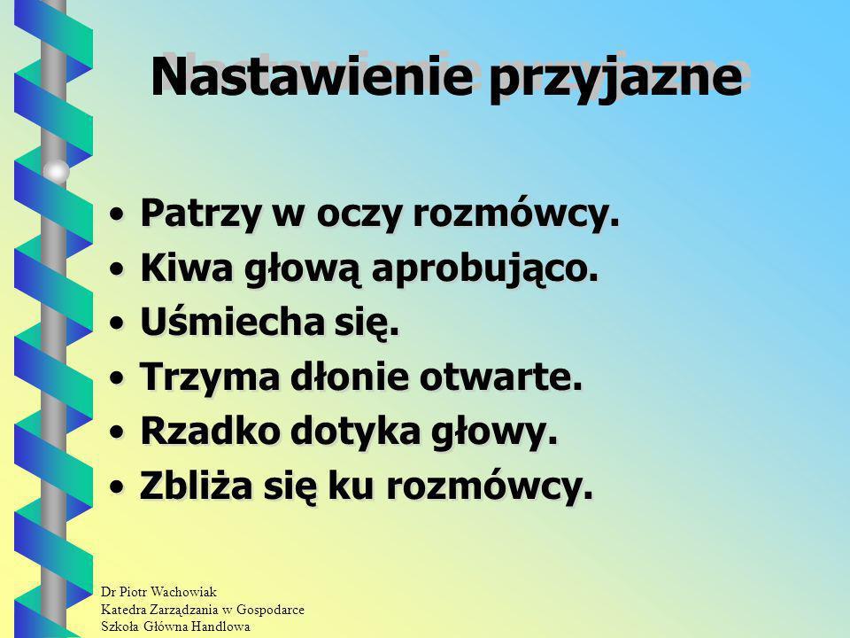 Dr Piotr Wachowiak Katedra Zarządzania w Gospodarce Szkoła Główna Handlowa Nastawienie przyjazne Patrzy w oczy rozmówcy.