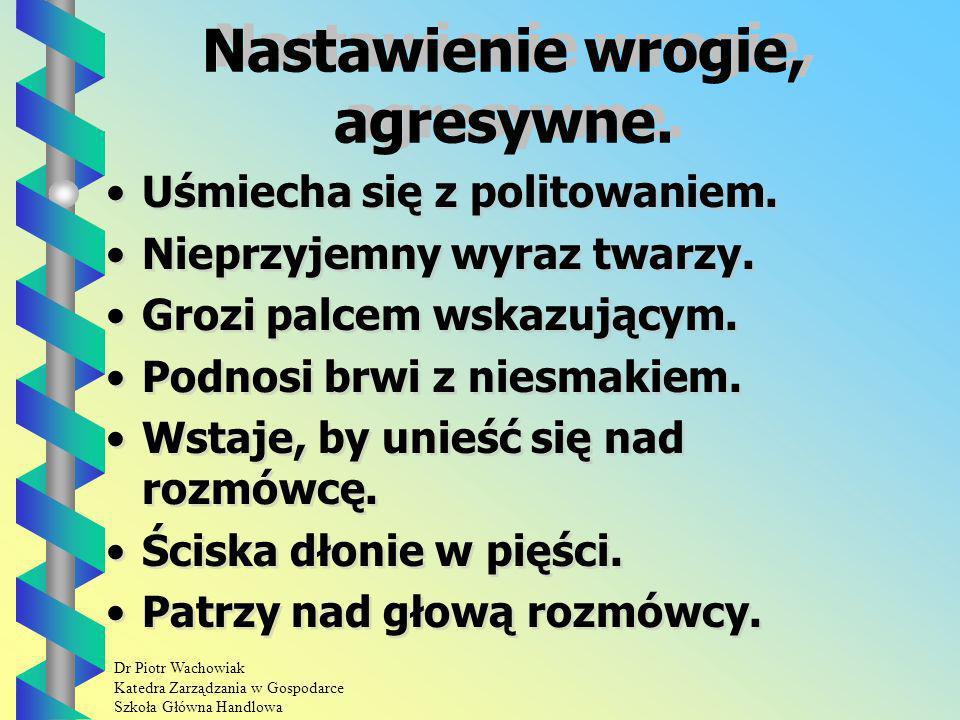 Dr Piotr Wachowiak Katedra Zarządzania w Gospodarce Szkoła Główna Handlowa Nastawienie wrogie, agresywne.