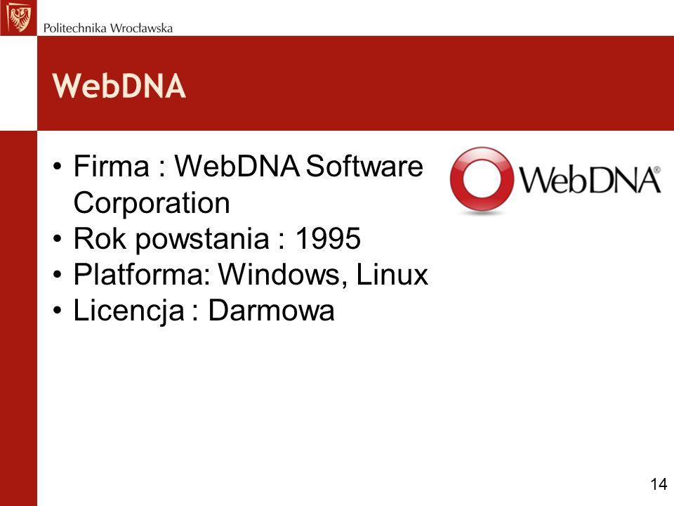 WebDNA Firma : WebDNA Software Corporation Rok powstania : 1995 Platforma: Windows, Linux Licencja : Darmowa 14