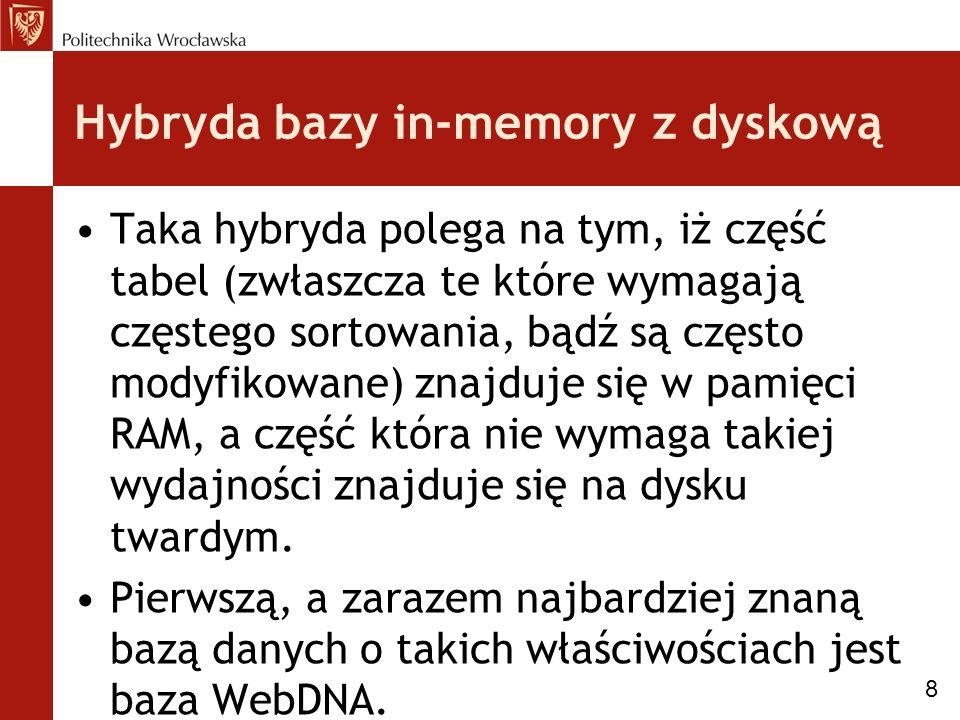Hybryda bazy in-memory z dyskową Taka hybryda polega na tym, iż część tabel (zwłaszcza te które wymagają częstego sortowania, bądź są często modyfikowane) znajduje się w pamięci RAM, a część która nie wymaga takiej wydajności znajduje się na dysku twardym.
