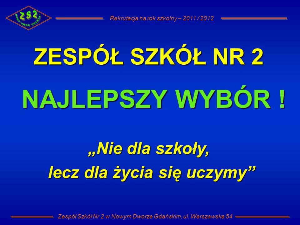Rekrutacja na rok szkolny – 2011 / 2012 Zespół Szkół Nr 2 w Nowym Dworze Gdańskim, ul. Warszawska 54 ZESPÓŁ SZKÓŁ NR 2 NAJLEPSZY WYBÓR ! Nie dla szkoł