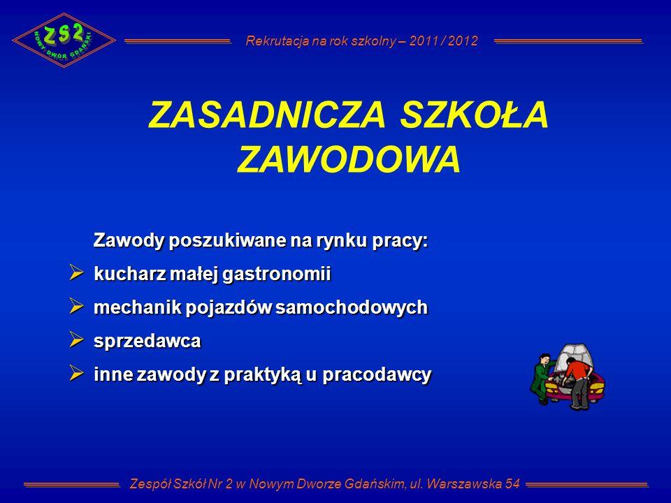 Rekrutacja na rok szkolny – 2011 / 2012 Zespół Szkół Nr 2 w Nowym Dworze Gdańskim, ul. Warszawska 54 Zawody poszukiwane na rynku pracy: kucharz małej