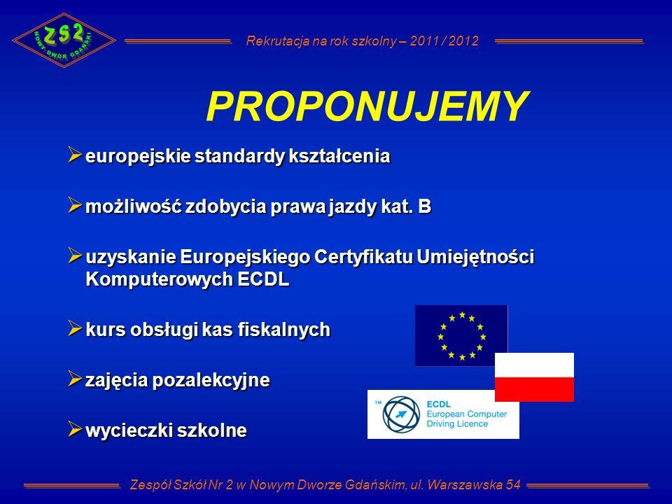 Rekrutacja na rok szkolny – 2011 / 2012 Zespół Szkół Nr 2 w Nowym Dworze Gdańskim, ul. Warszawska 54 europejskie standardy kształcenia europejskie sta
