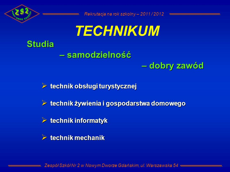 Rekrutacja na rok szkolny – 2011 / 2012 Zespół Szkół Nr 2 w Nowym Dworze Gdańskim, ul. Warszawska 54 Studia – samodzielność – dobry zawód TECHNIKUM te