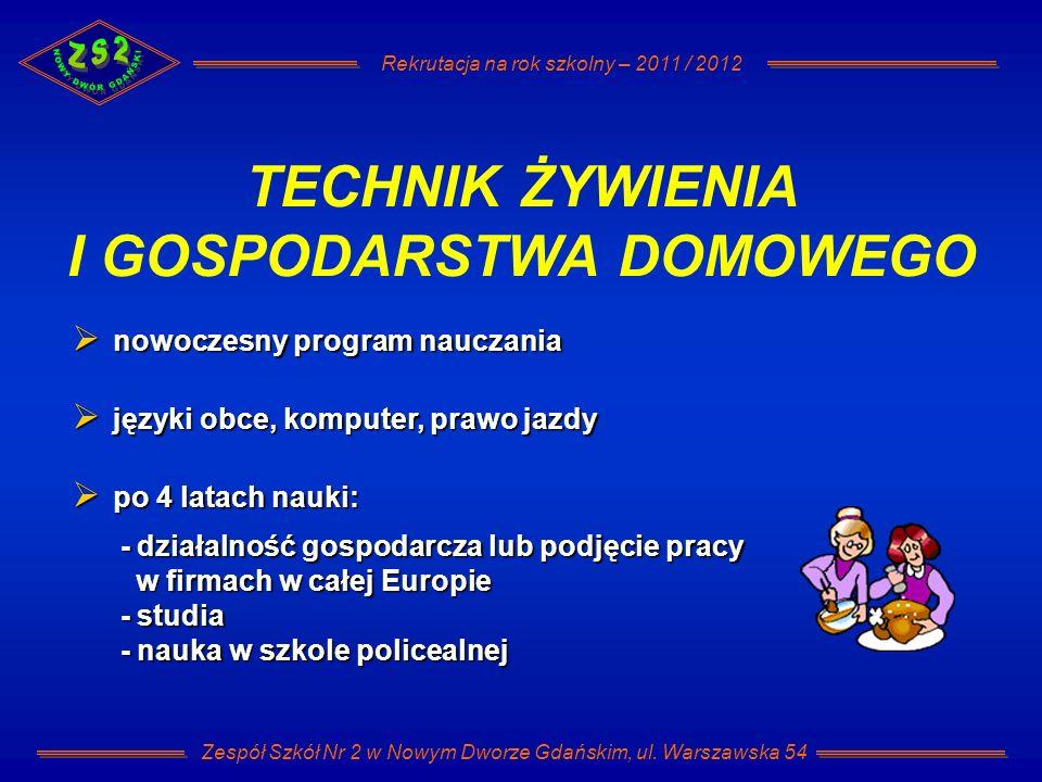 Rekrutacja na rok szkolny – 2011 / 2012 Zespół Szkół Nr 2 w Nowym Dworze Gdańskim, ul.