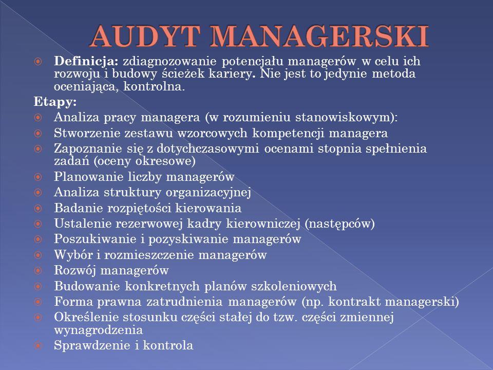 Definicja: zdiagnozowanie potencjału managerów w celu ich rozwoju i budowy ścieżek kariery. Nie jest to jedynie metoda oceniająca, kontrolna. Etapy: A