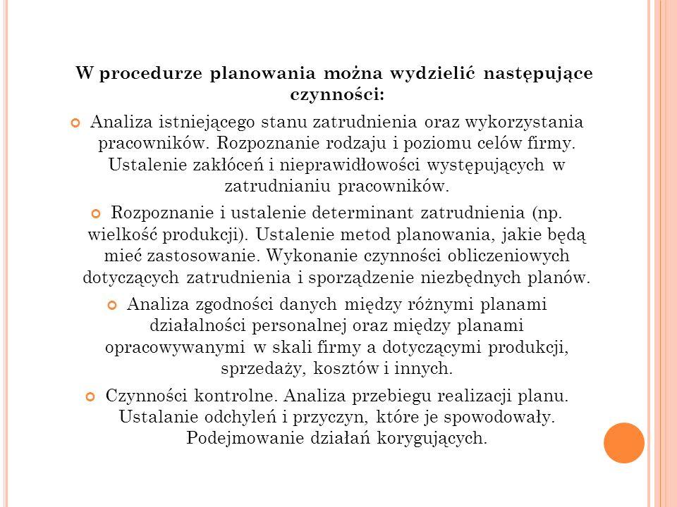 W procedurze planowania można wydzielić następujące czynności: Analiza istniejącego stanu zatrudnienia oraz wykorzystania pracowników. Rozpoznanie rod