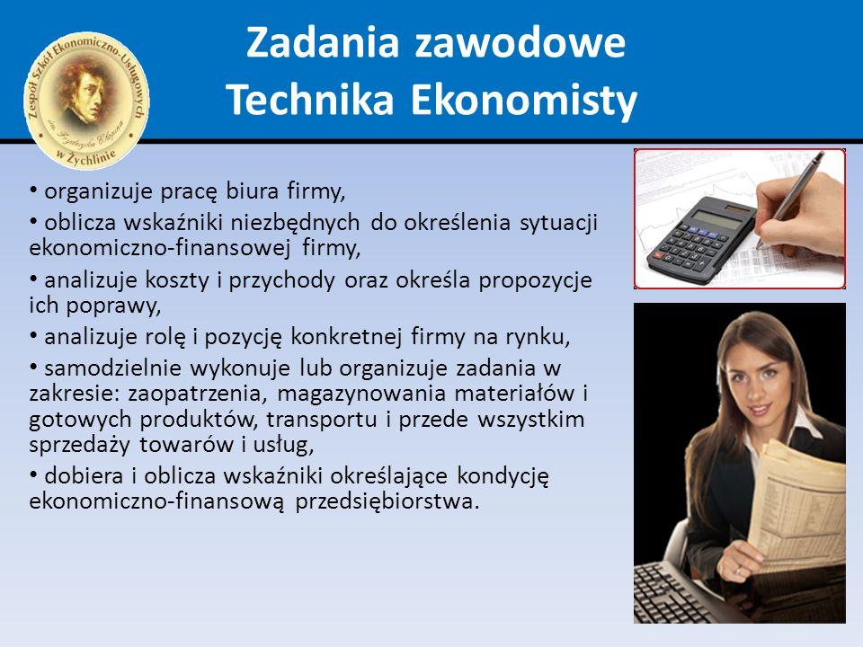 Zadania zawodowe Technika Ekonomisty organizuje pracę biura firmy, oblicza wskaźniki niezbędnych do określenia sytuacji ekonomiczno-finansowej firmy,