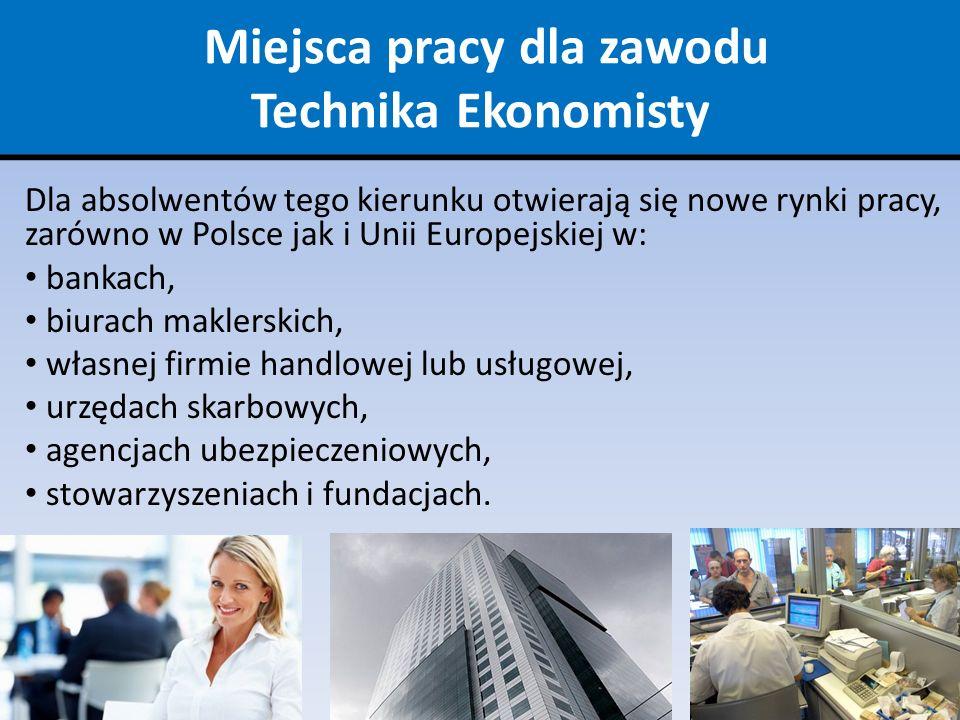 Miejsca pracy dla zawodu Technika Ekonomisty Dla absolwentów tego kierunku otwierają się nowe rynki pracy, zarówno w Polsce jak i Unii Europejskiej w: