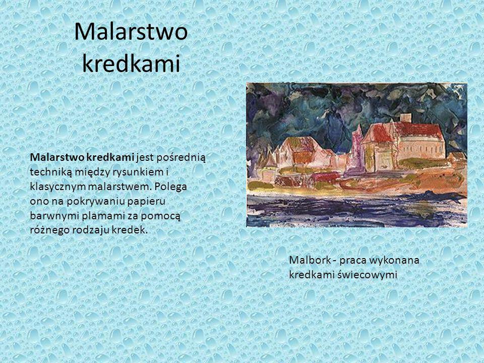 Malarstwo kredkami Malarstwo kredkami jest pośrednią techniką między rysunkiem i klasycznym malarstwem. Polega ono na pokrywaniu papieru barwnymi plam