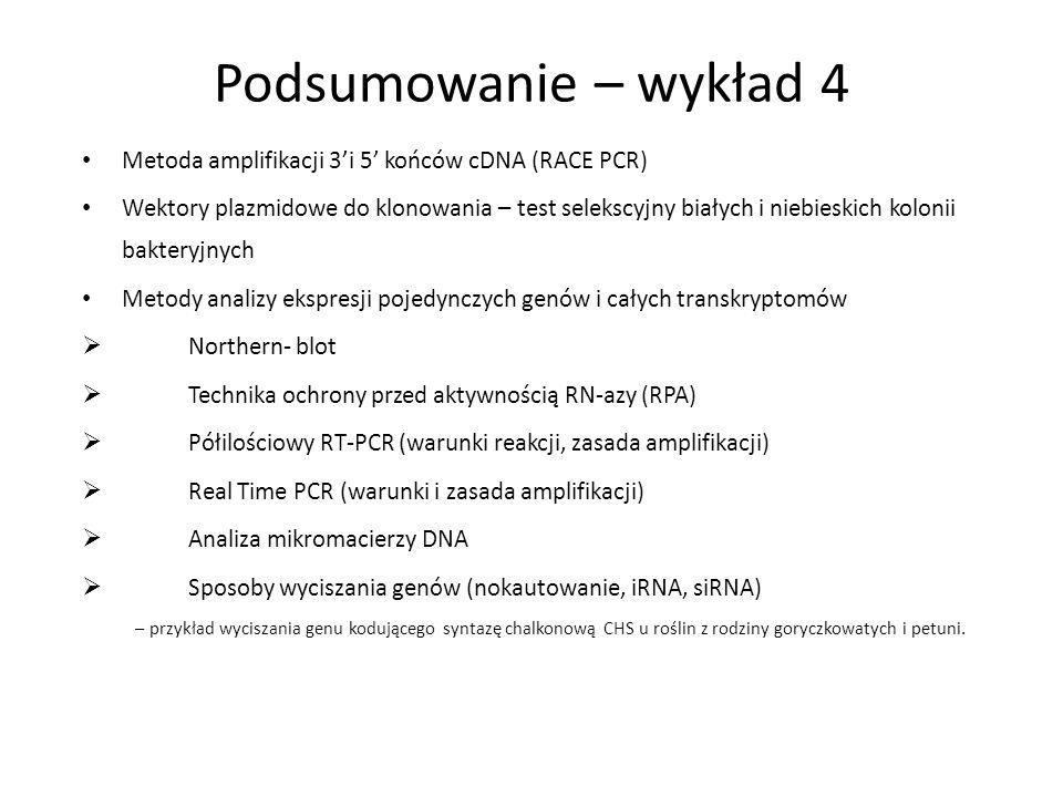 Podsumowanie – wykład 4 Metoda amplifikacji 3i 5 końców cDNA (RACE PCR) Wektory plazmidowe do klonowania – test selekscyjny białych i niebieskich kolo