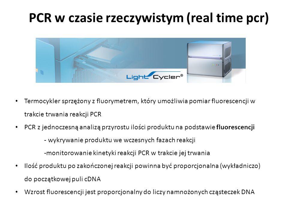 PCR w czasie rzeczywistym (real time pcr) Termocykler sprzężony z fluorymetrem, który umożliwia pomiar fluorescencji w trakcie trwania reakcji PCR PCR