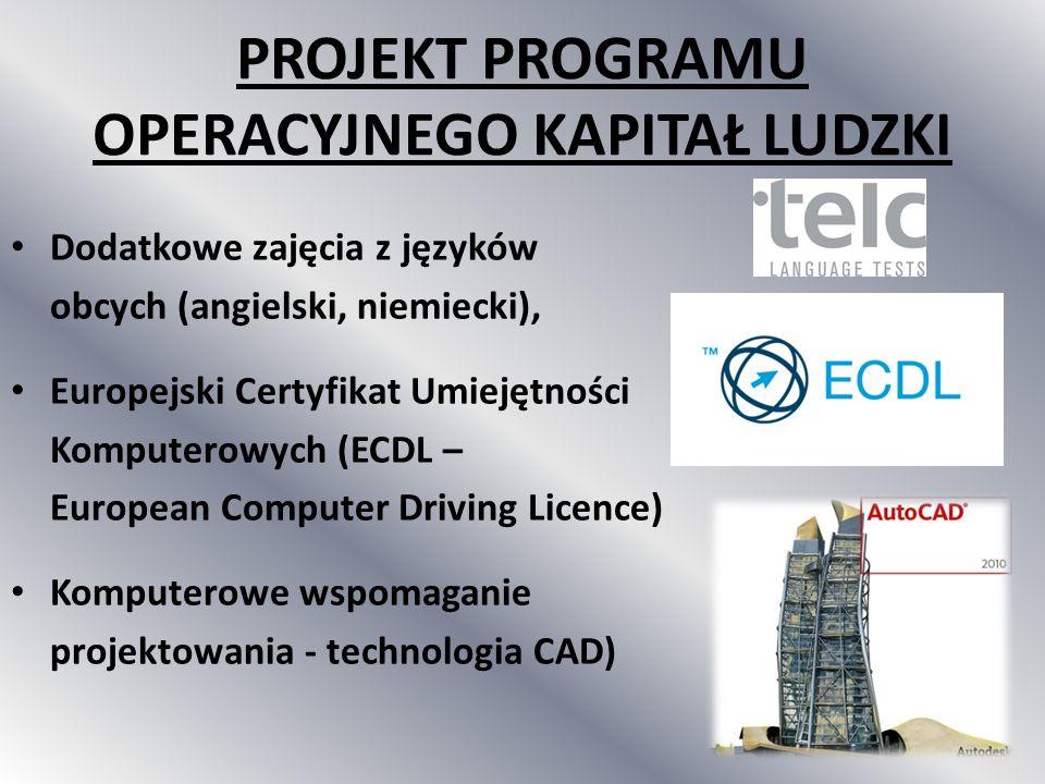 Dodatkowe zajęcia z języków obcych (angielski, niemiecki), Europejski Certyfikat Umiejętności Komputerowych (ECDL – European Computer Driving Licence)