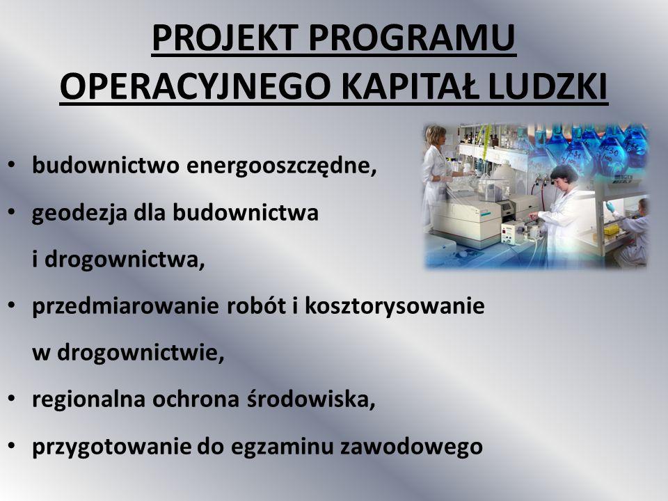 budownictwo energooszczędne, geodezja dla budownictwa i drogownictwa, przedmiarowanie robót i kosztorysowanie w drogownictwie, regionalna ochrona środ