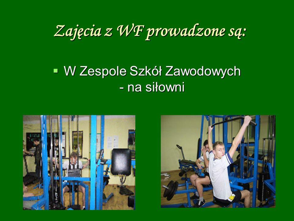 Zajęcia z WF prowadzone są: W Zespole Szkół Zawodowych - na siłowni W Zespole Szkół Zawodowych - na siłowni
