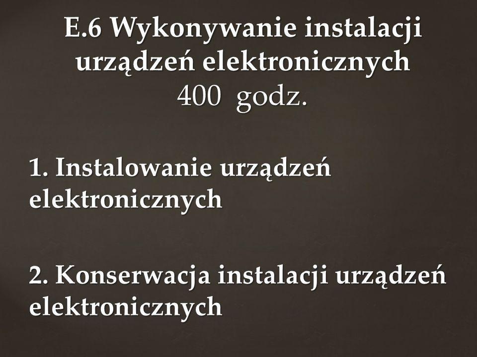 1. Instalowanie urządzeń elektronicznych 2. Konserwacja instalacji urządzeń elektronicznych E.6 Wykonywanie instalacji urządzeń elektronicznych 400 go