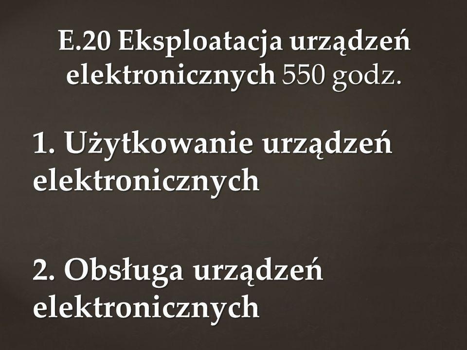 1. Użytkowanie urządzeń elektronicznych 2. Obsługa urządzeń elektronicznych E.20 Eksploatacja urządzeń elektronicznych 550 godz.