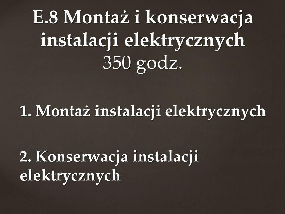 1. Montaż instalacji elektrycznych 2. Konserwacja instalacji elektrycznych E.8 Montaż i konserwacja instalacji elektrycznych 350 godz.