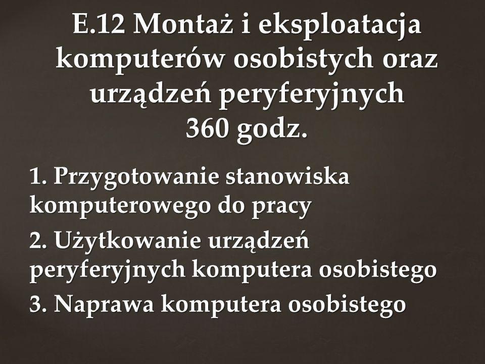 1. Przygotowanie stanowiska komputerowego do pracy 2. Użytkowanie urządzeń peryferyjnych komputera osobistego 3. Naprawa komputera osobistego E.12 Mon