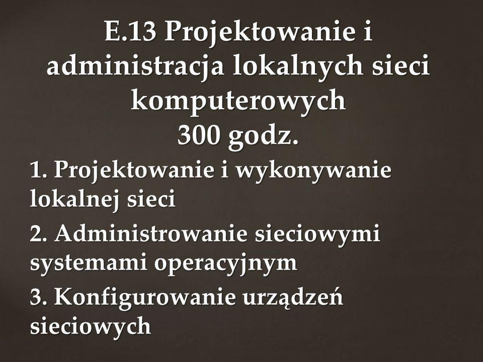 1. Projektowanie i wykonywanie lokalnej sieci 2. Administrowanie sieciowymi systemami operacyjnym 3. Konfigurowanie urządzeń sieciowych E.13 Projektow