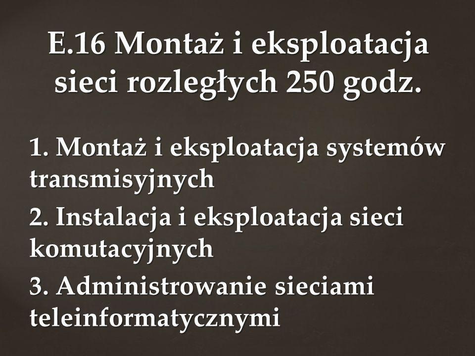1. Montaż i eksploatacja systemów transmisyjnych 2. Instalacja i eksploatacja sieci komutacyjnych 3. Administrowanie sieciami teleinformatycznymi E.16