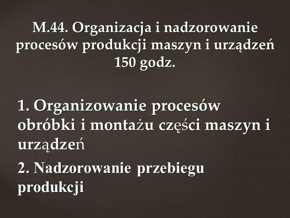 1. Organizowanie procesów obróbki i montażu części maszyn i urządzeń 2. Nadzorowanie przebiegu produkcji M.44. Organizacja i nadzorowanie procesów pro