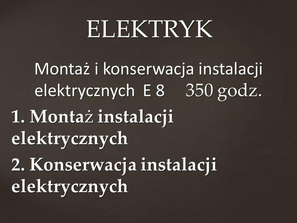 Montaż i konserwacja instalacji elektrycznych E 8 350 godz. 1. Montaż instalacji elektrycznych 2. Konserwacja instalacji elektrycznych ELEKTRYK