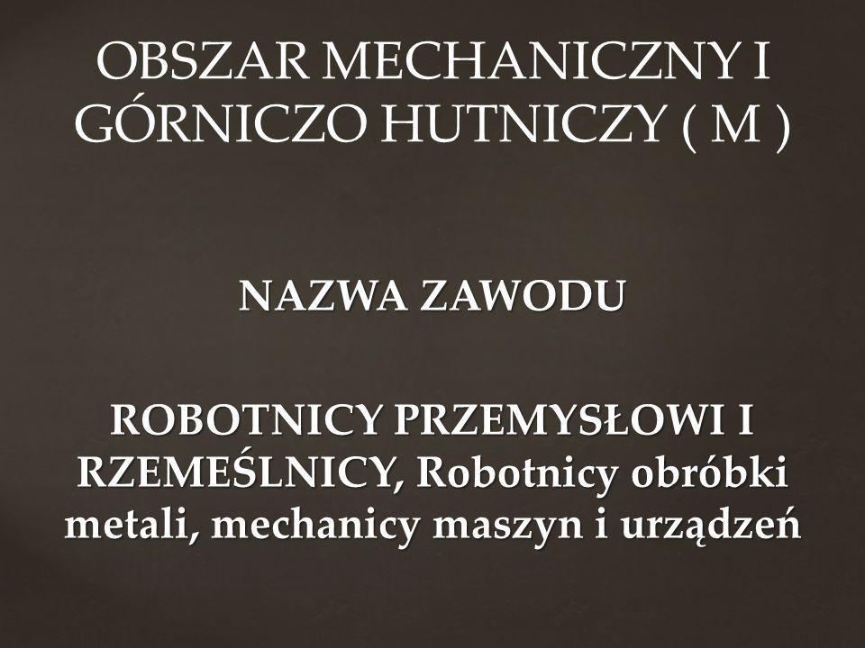 NAZWA ZAWODU ROBOTNICY PRZEMYSŁOWI I RZEMEŚLNICY, Robotnicy obróbki metali, mechanicy maszyn i urządzeń OBSZAR MECHANICZNY I GÓRNICZO HUTNICZY ( M )