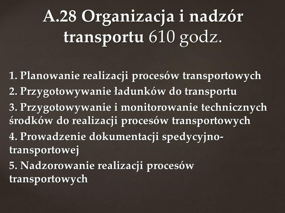1. Planowanie realizacji procesów transportowych 2. Przygotowywanie ładunków do transportu 3. Przygotowywanie i monitorowanie technicznych środków do