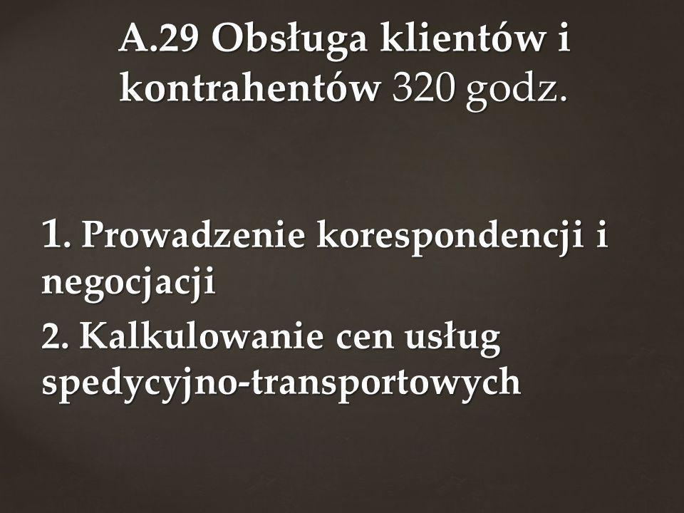 1. Prowadzenie korespondencji i negocjacji 2. Kalkulowanie cen usług spedycyjno-transportowych A.29 Obsługa klientów i kontrahentów 320 godz.