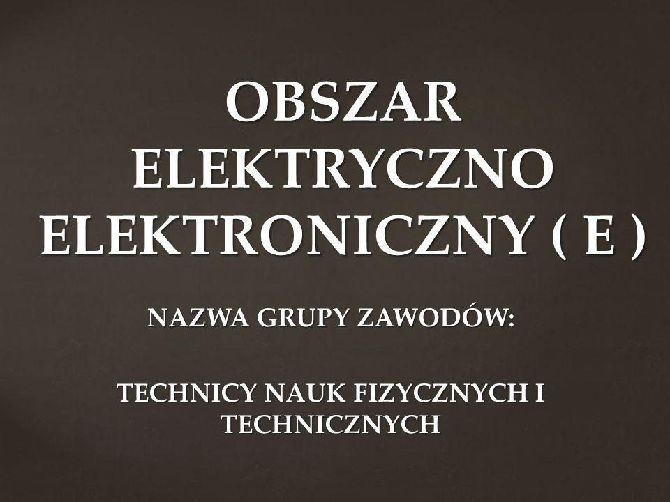 NAZWA GRUPY ZAWODÓW: TECHNICY NAUK FIZYCZNYCH I TECHNICZNYCH OBSZAR ELEKTRYCZNO ELEKTRONICZNY ( E )