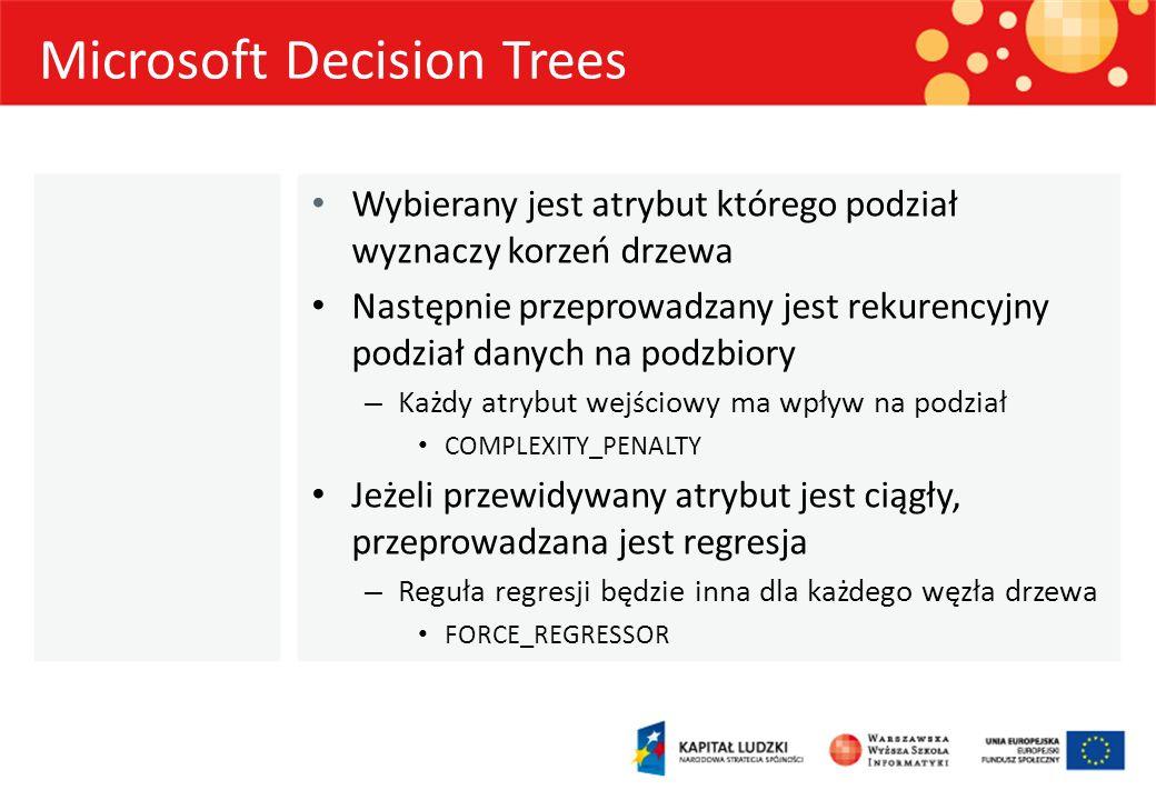 Microsoft Decision Trees Wybierany jest atrybut którego podział wyznaczy korzeń drzewa Następnie przeprowadzany jest rekurencyjny podział danych na po