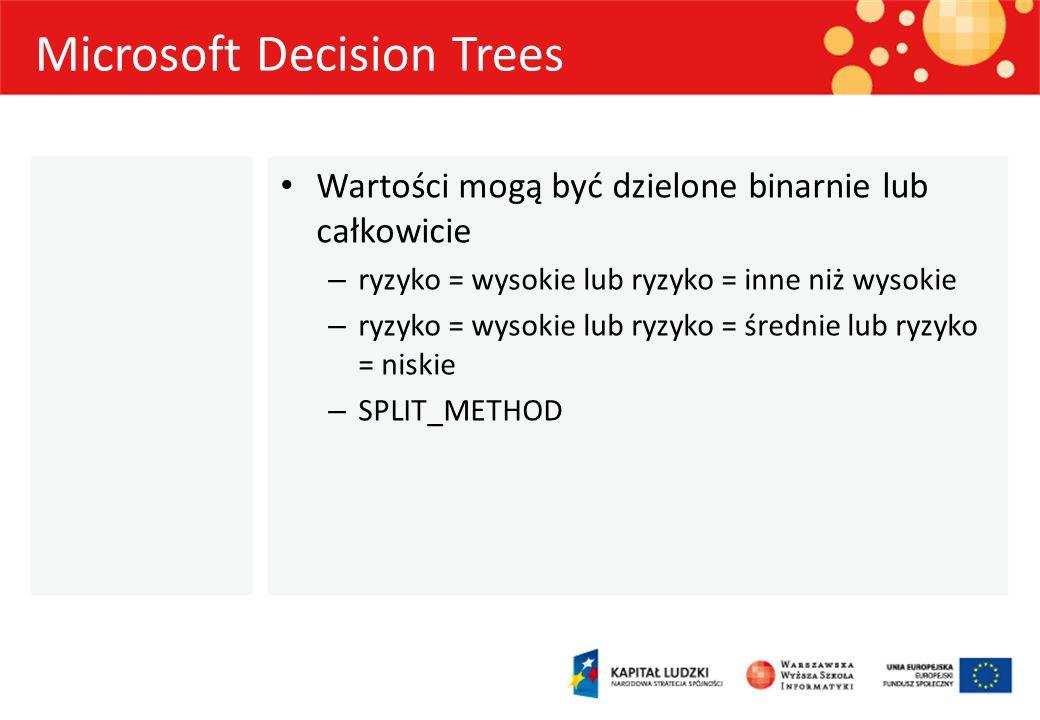 Microsoft Decision Trees Wartości mogą być dzielone binarnie lub całkowicie – ryzyko = wysokie lub ryzyko = inne niż wysokie – ryzyko = wysokie lub ry