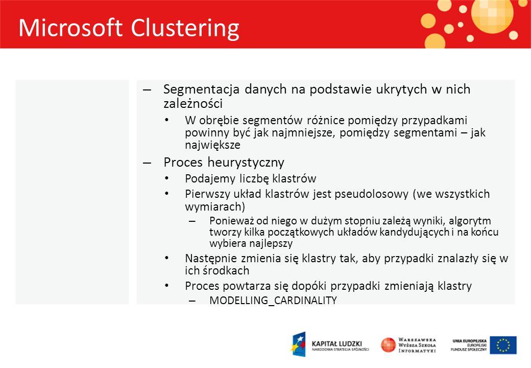 Microsoft Clustering – Segmentacja danych na podstawie ukrytych w nich zależności W obrębie segmentów różnice pomiędzy przypadkami powinny być jak naj