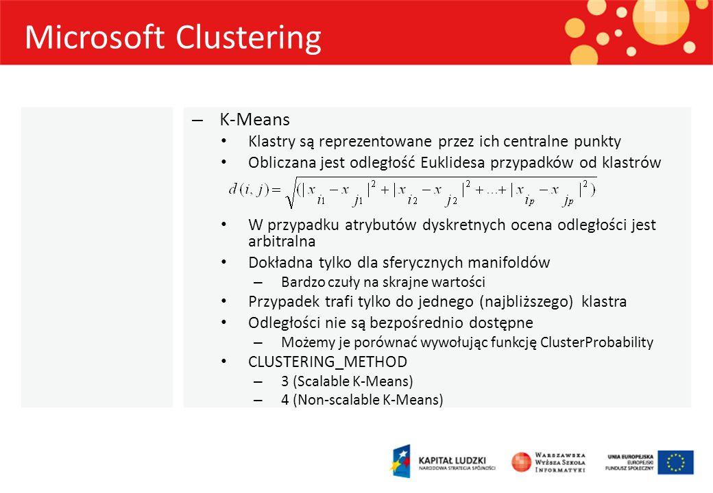 Microsoft Clustering – K-Means Klastry są reprezentowane przez ich centralne punkty Obliczana jest odległość Euklidesa przypadków od klastrów W przypa