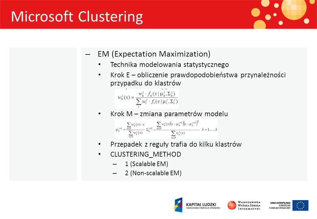 Microsoft Clustering – EM (Expectation Maximization) Technika modelowania statystycznego Krok E – obliczenie prawdopodobieństwa przynależności przypad