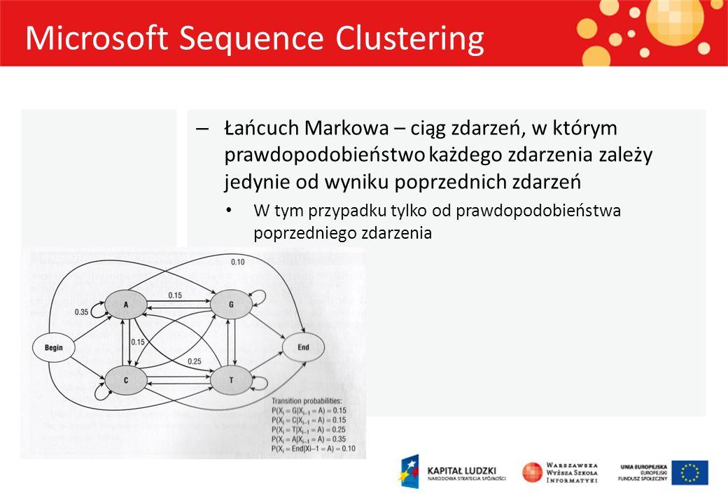 Microsoft Sequence Clustering – Łańcuch Markowa – ciąg zdarzeń, w którym prawdopodobieństwo każdego zdarzenia zależy jedynie od wyniku poprzednich zda