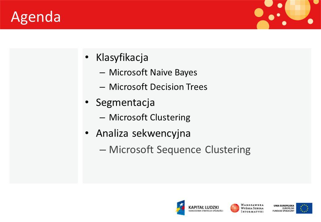 Agenda Klasyfikacja – Microsoft Naive Bayes – Microsoft Decision Trees Segmentacja – Microsoft Clustering Analiza sekwencyjna – Microsoft Sequence Clu